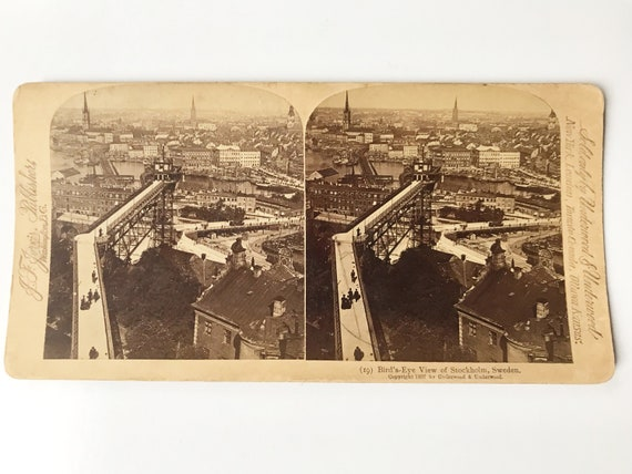 Antique Stereoview: Bird's Eye View of Stockholm, Sweden, J. T. Jarvis, Copyright 1897
