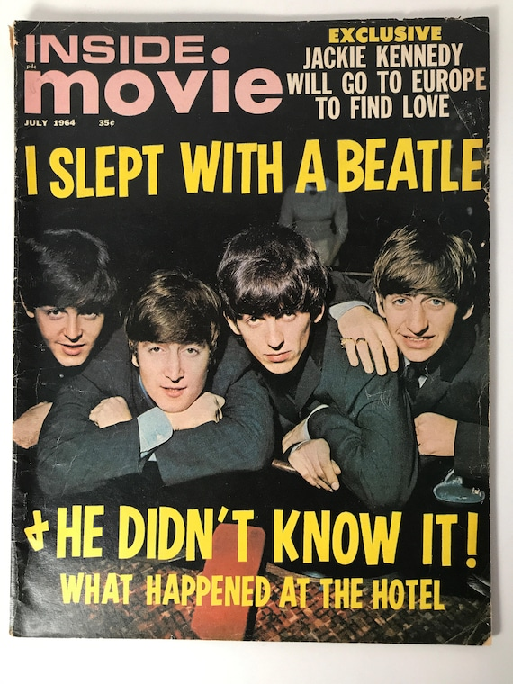 Vintage Inside Movie Magazine July 1964 - Cover The Beatles - I Slept with a Beatle - Inside Jackie Kennedy, Steve McQueen, Natalie Wood