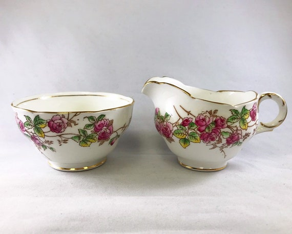 Vintage Adderley Bone China Pink Rose Pattern Creamer and Sugar Bowl
