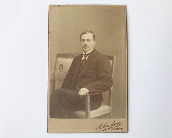Antique Carte de Visite Swedish CDV Photograph of Late Victorian Man from Edsbyn, Sweden