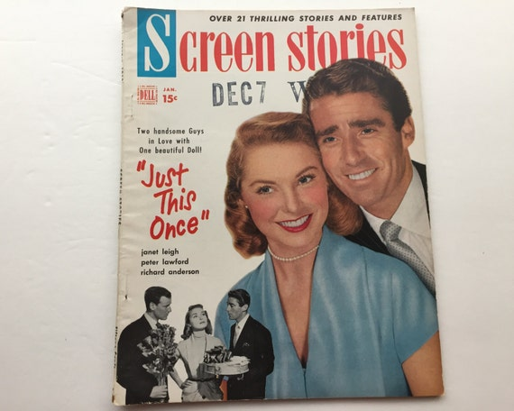 Screen Stories Magazine January 1952 - Cover Janet Leigh and Peter Lawford - Vintage Movie Magazine - Inside Bette Davis & David Niven