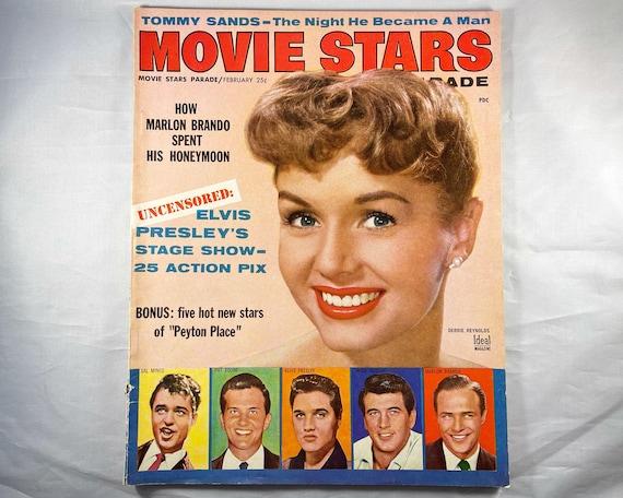 Movie Stars Parade Magazine Feb 1958 - Cover Debbie Reynolds, Inside Elvis Presley, Rock Hudson, Sal Mineo, Pat Boone