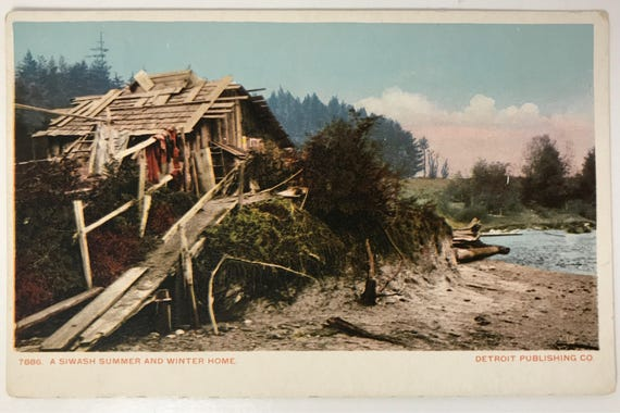 Antique Washington State Postcard - Northwest Native American Dwelling  - Colored Print - Unused - Detroit Publishing Co.