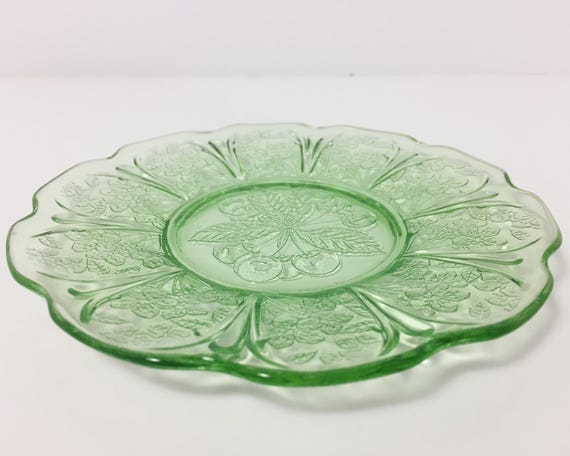 Depression Glass Green Cherry Blossom Bread and Butter Plate by Jeanette Glass - Vintage Uranium Glass