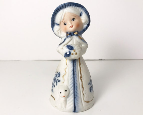 Vintage Royal Majestic Jasco Porcelain Bisque Bell Figurine - Blue & White Girl with Muff and Cat