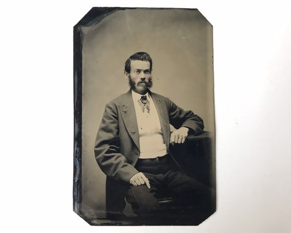 Antique Tintype Photograph of Victorian Man with Mutton Chops