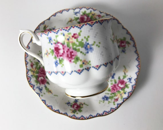 Vintage Royal Albert Petit Point China Teacup and Saucer - Cross Stitch - Hampton Shape Cup