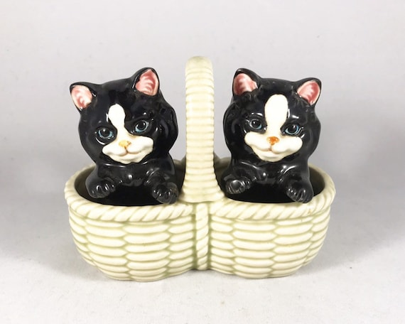 Vintage Takahashi San Francisco Black and White Kittens in a Basket Salt and Pepper Shakers