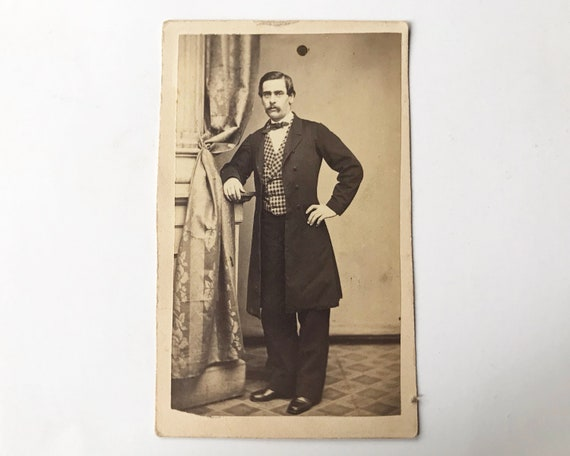 Antique Carte de Visite CDV Photograph of Handsome Victorian Man with Mustache