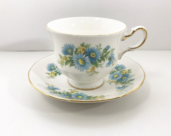 Vintage Queen Anne English Bone China Tea Cup and Saucer - Blue Asters - Shore and Coggins