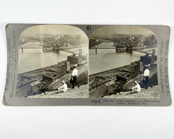 Keystone View Company Stereoview of Junction of the Allegheny and Monongahela Rivers, Pittsburg, PA