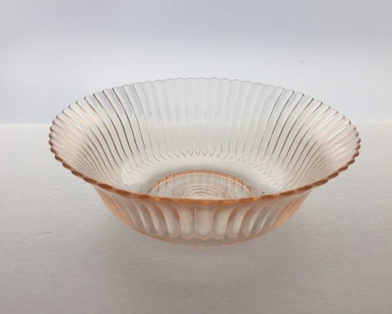 Pink Depression Glass Petalware Large Fruit Bowl by Macbeth Evans - Pink Transparent Glass - Beautiful Ribbed Glass