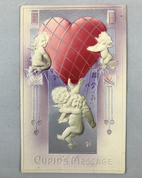 Antique Embossed 3D Valentine Postcard - Cupid's Message