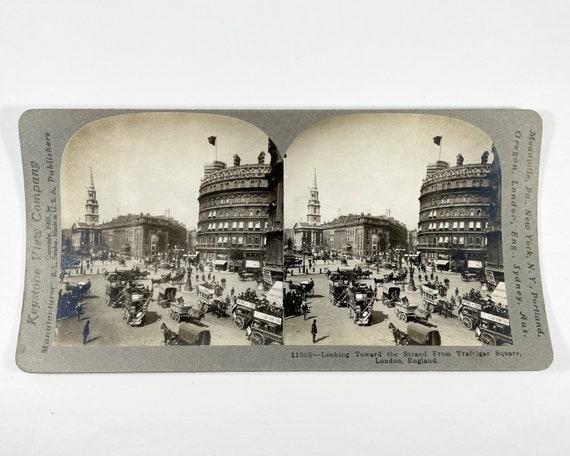 Keystone View Company Stereoview of Looking Toward the Strand from Trafalgar Square, London England, Copyright 1901 #11305