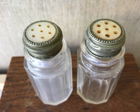 Antique Salt and Pepper Shakers with Mother of Pearl Caps