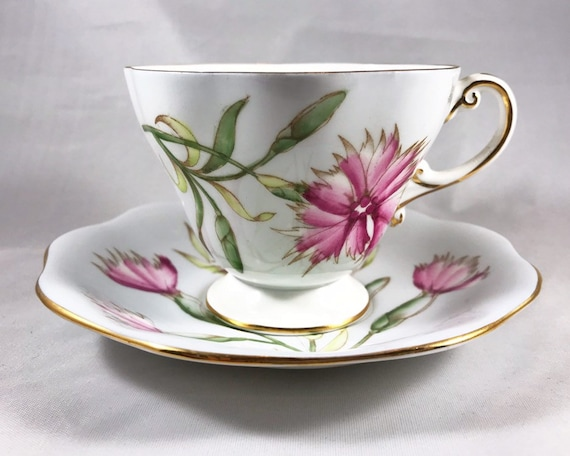 "Vintage E.B. Foley Bone China Teacup and Saucer ""Pink"" - Carnation Pinks"