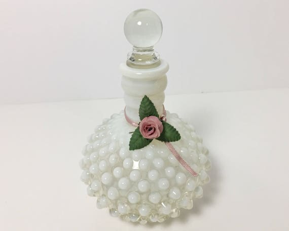Vintage Fenton Glass - Wrisley Hobnail Cologne Bottle - Depression Glass -  French Opalescent Perfume Bottle