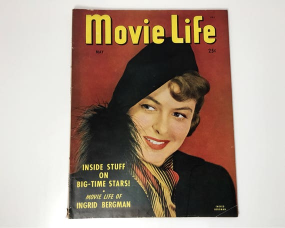 Movie Life Magazine May 1947 - Cover Ingrid Bergman - Vintage Movie Magazine - Inside Bing Crosby, Bob Hope & Gene Autry