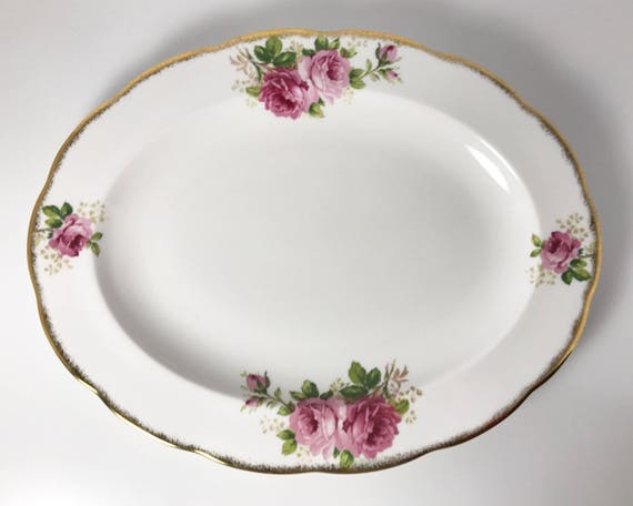 "Vintage Royal Albert ""American Beauty"" 13 Inch Serving Platter - Large Oval Plate in Pink Rose Pattern - Charming!"