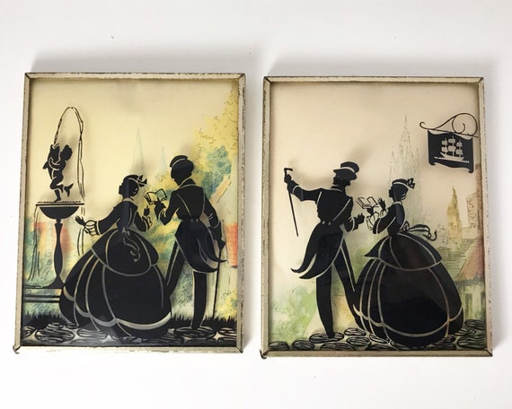 Pair of Silhouette Pictures on Glass - Convex Bubble Glass - Victorian Style Couple