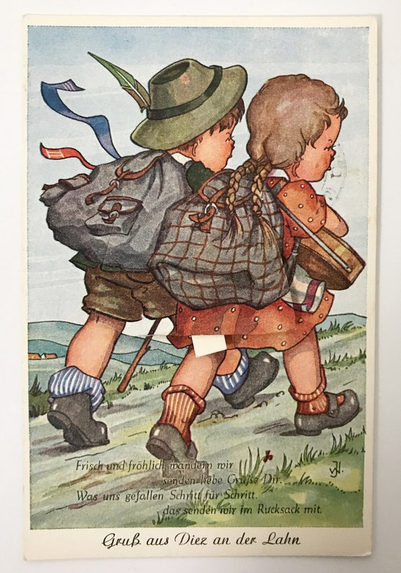 Antique Mechanical Postcard - German Post Card - Two Children Hiking - Back Pack Opens out to Scenic Photo Views