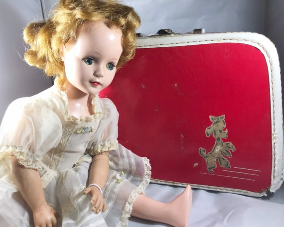 "Vintage American Character Doll 1950s ""Sweet Sue"" with Poodle Suitcase of Dresses"