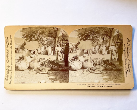 Sunday Morning at the Market, Ponce, Puerto Rico, Griffith & Griffith Stereoview, M. H. Zahner, Photographer, Copyright 1899