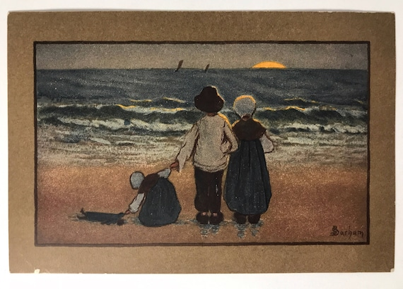 Antique Artist Signed Sybil Barham Postcard - Printed in Austria - M. Munk Vienne - Nr. 211 - Family Watching Sunset on the Beach