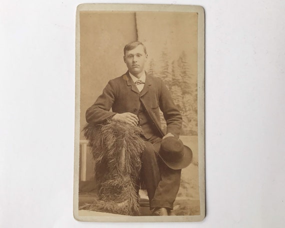 Antique Carte de Visite CDV Photograph of Victorian Cowboy with Wooly Chaps