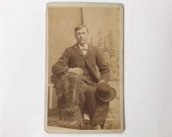 Antique Carte de Visite CDV Photograph of Victorian Young Man with Buffalo Hide