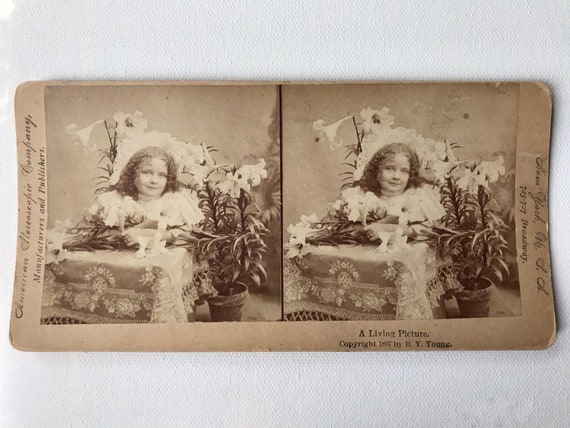 "Antique American Stereoscophic Company Stereoview - ""A Living Picture"" Copyright 1897 by R. Y. Young - Beautiful Girl with Lilies"