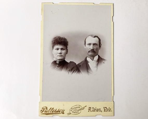 Antique Cabinet Card of Portrait of Victorian Husband & Wife, Albion, Nebraska