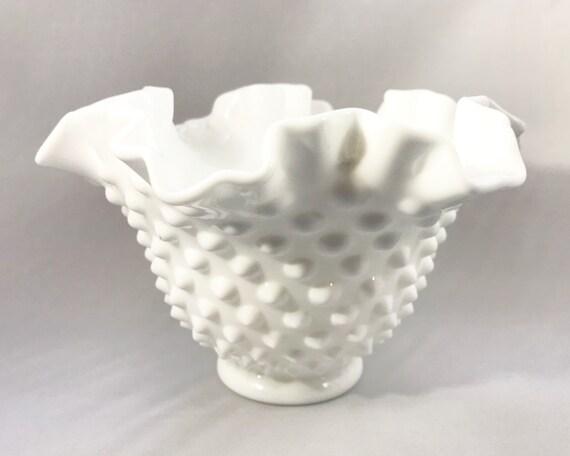 Fenton Milk Glass Hobnail Double Crimp Bowl - Ruffled White Glass Bowl - Hobnail Compote - Candy Dish - Vintage Decor