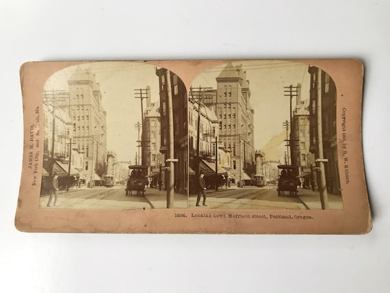 Antique B. W. Kilburn Stereoview - Looking Down Morrison Street, Portland, Oregon - James M. Davis - Copyright 1905
