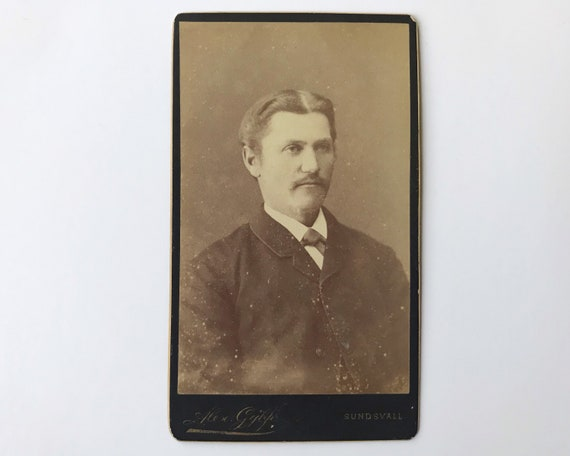 Antique Carte de Visite Swedish CDV Photograph of Later Victorian Man from Sundsvall, Sweden