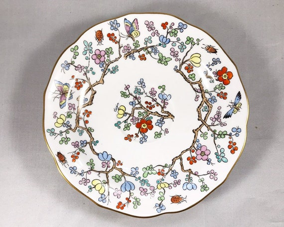 "Copeland Spode ""Shanghai"" Saucer with Blossoms and Insects"
