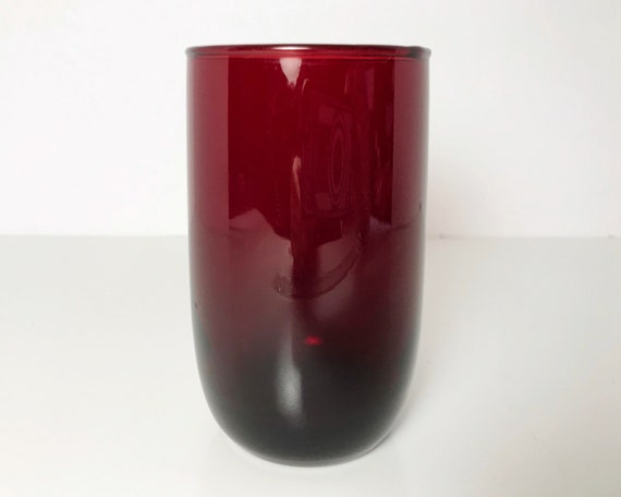 Vintage Anchor Hocking Glass Royal Ruby Roly Poly 9 oz Flat Tumbler