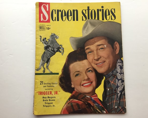 Screen Stories Magazine July 1950 - Cover Roy Rogers and Dale Evans - Vintage Movie Magazine - Inside Trigger Jr. & Father of the Bride