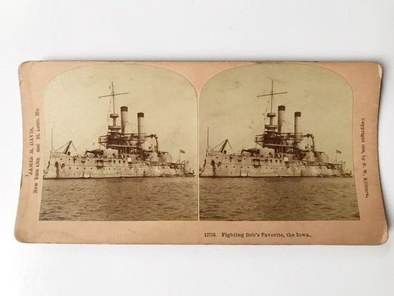 Antique B. W. Kilburn Sepia Stereoview - USS Iowa (BB-4) Spanish-American War - Fighting Bob's Favorite