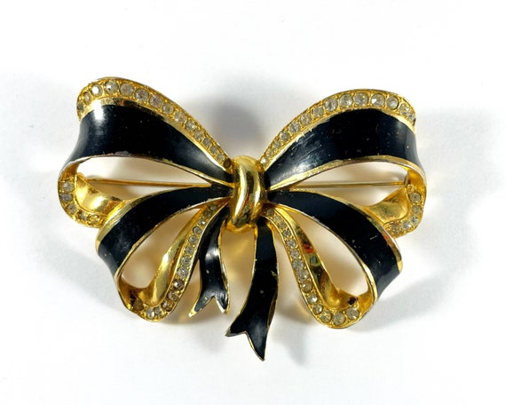 Vintage Black Enamel and Gold Tone with Rhinestones Bow Brooch