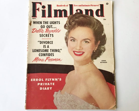 Vintage Filmland Movie Magazine - Sept 1954 - Cover Debbie Reynolds -  inside Gene Tierney, Errol Flynn, Maureen O'Hara, Bob Hope