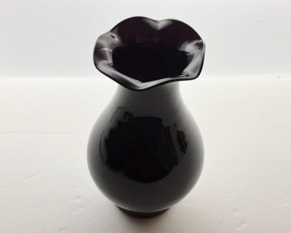 Black Amethyst Vase - Vintage Dark Purple Glass Vase - Dark Amethyst Bud Vase with Ruffled Edge