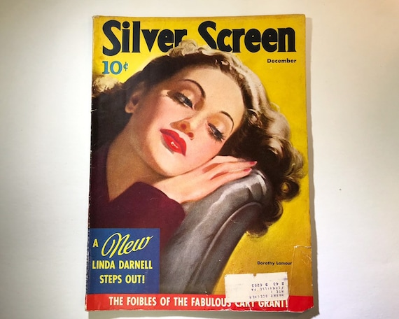 Silver Screen Magazine December 1941 - Cover Dorothy Lamour - Vintage Movie Magazine - Inside Cary Grant, Humphrey Bogart, Betty Gable Etc.