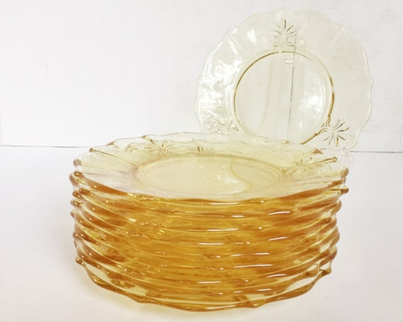 Vintage Fostoria Baroque Salad or Bread & Butter Plates - SOLD SINGLY - Topaz Yellow Elegant Glass Plates - Beautiful Color 1937-1943