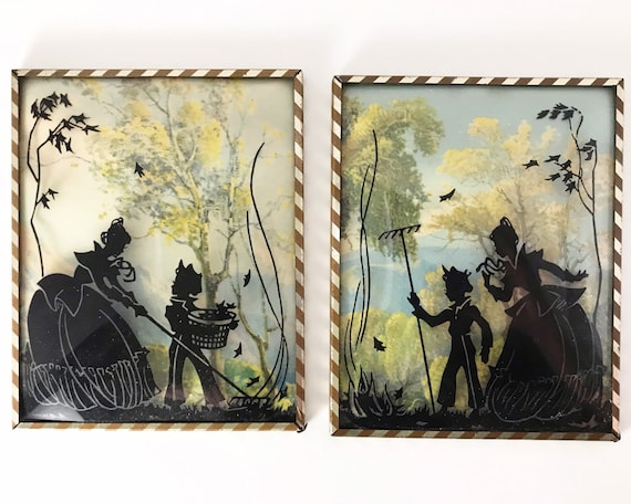 Vintage Silhouette Pictures on Glass - Set of Two Bubble or Convex Glass - Victorian Style Autumn Scene