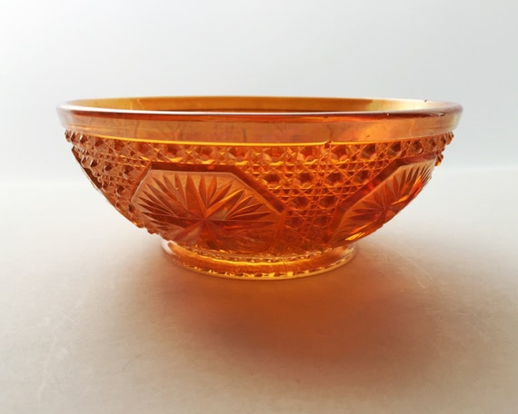 Imperial Glass - Marigold Carnival Glass Bowl in the Star Medallion Pattern - Vintage Decor