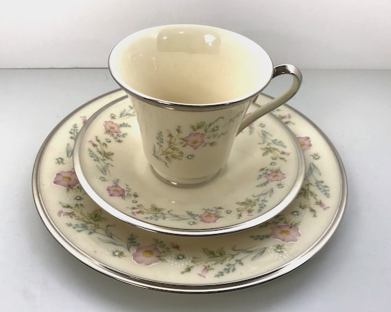 Vintage Lenox China Trio - Flirtation with Floral Pattern and Platinum Trim