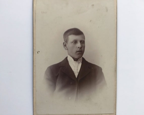 Antique Carte de Visite Swedish CDV Photograph of Young Victorian Man from Hudiksvall, Sweden