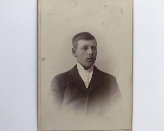 Antique Carte de Visite Swedish CDV Photograph of Young Victorian Man from Hudiksvall, Sweden