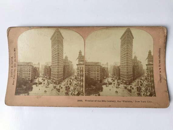 Antique B. W. Kilburn Stereoview - The Flatiron Building, New York - James M. Davis - Copyright 1903
